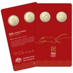 2020 $1 Lunar Series - Year of the Rat 2 Coin Set  Carded/Coins