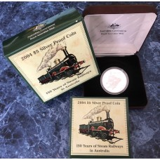2004 $5 150 Years of Steam Railways 99.9% Silver Proof