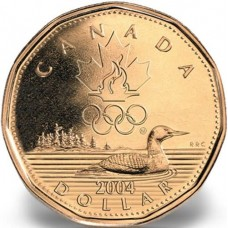 2004 $1 Canadian Olympic Lucky Loonie Coin