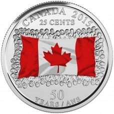 2015 25¢ Canadian Coloured Flag Coin