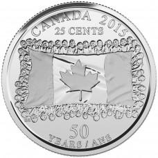 2015 25¢ Canadian Plain Flag Coin