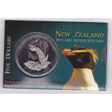 2005 $5 New Zealand Fiordland Crested Penguin Coin Pack